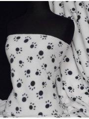 Polar Fleece Anti Pill Washable Soft Fabric- White/Black Paws Q396 WHTBK