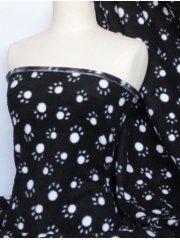 Polar Fleece Anti Pill Washable Soft Fabric- Black/White Paws Q396 BKWHT