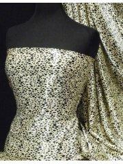 Super Soft Satin Fabric- Animal Print Cream/Black Q843 CRMBK