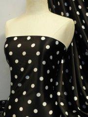 Super Soft Satin Stretch Fabric- Black Polka Dots Q830 BKWHT