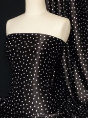 Super Soft Satin Fabric- Black Spots Q548 BK