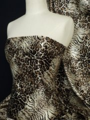 Super Soft Satin Non-Stretch Fabric- Brown Animal Q594 BR