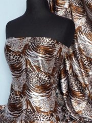 Super Soft Satin Non-Stretch Fabric- Copper Animal Q549 COP
