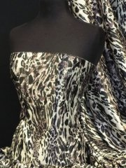 Super Soft Satin Non-Stretch Fabric- Leopard Mauve/Black Q834 BKMAU