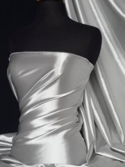 Fluid Super Soft Satin Stretch Fabric- Silver Grey Q855 SLVGR