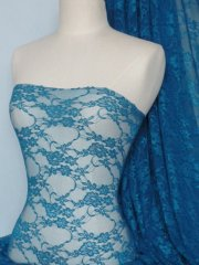 Flower Stretch Lace Fabric- Teal Blue Q137 TLBL