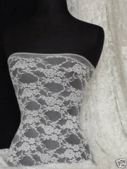 Flower Stretch Lace Fabric- Ivory Q137 IV
