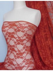 Flower Stretch Lace Fabric- Rust Orange Q137 RSOR