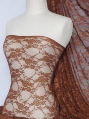 Copper Brown Flower Stretch Lace Fabric