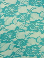 Lace Rose Flower Stretch Fabric- Turquoise Blue Q963 TQS