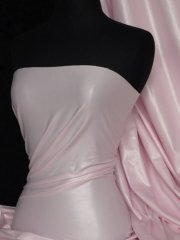 Micro Wet Look Stretch Lycra Fabric- Pastel Pink Q925 PPN