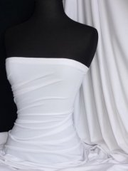 Cotton Lycra Jersey 4 Way Stretch Fabric -  Pure White Q35 WHT