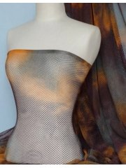 Grey/Orange Tie Dye Fishnet Stretch Material