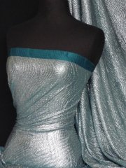 Bodré Crinkle Metallic Foil Stretch Fabric- Teal/Silver Q827 SLVTL