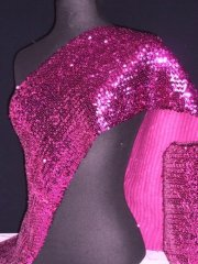 Sequins (23 cms) Stretchy Material With Elastane- Pink Q566 PN