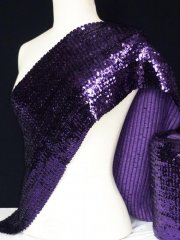 Sequins (23 cms) Stretchy Material With Elastane- Purple Q566 PPL