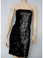 Fully Sequined Stretchy Elastene Material- Black BK