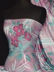 Silk Touch 4 Way Stretch Fabric- Lilac/Blue Vintage Flower Q667 LLC