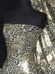Silk Touch 4 Way Stretch Fabric- Khaki Green/Gold Leopard Q619 KHGLD