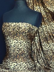 Silk Touch 4 Way Stretch Fabric- Brown/Black Sequin Leopard Q892 BR