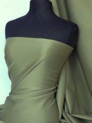 Scuba Stretch Poly Lycra Fabric- Khaki Green Q792 KHGR