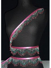 Pink/Green/Red Beaded Fringe Trimming