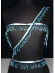 Sea Blue Beaded Fringe Trimming