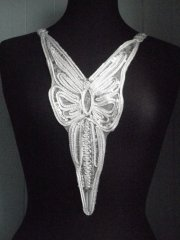 Lurex Long Neck Piece- White/Silver EM35 WHT