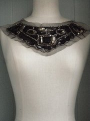 Jewel Encrusted Sequin Collar Net Neck Piece- Black EM37 BK