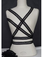 3 Metres Black Criss-Cross Ribbon Trim
