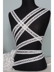 3 Metres White Criss-Cross Ribbon Trim