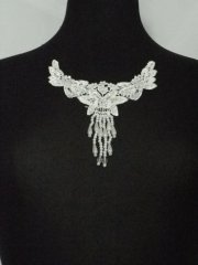 Pearl Beaded Neck Piece- White EM135 WHT