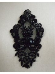 Beaded Sequins Applique- Black EM143 BK