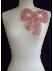 Sequin Bow Embellishment- Dusky Pink EM130 DPN