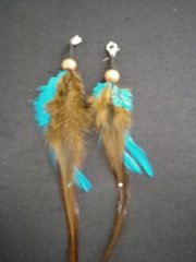 Feather Embellishment (Two Set)- Turquoise Blue/Brown EM215 TQBR