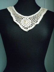 Cotton Crochet Wooden Beaded Neck Piece- Cream EM164 CRM