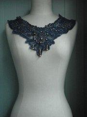 Cotton Beaded Embroidery Neck Piece- Denim Blue/Gold EM166 DNMBL