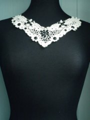 Cotton Stoned Neck Piece- Cream/ Black EM169 CRM