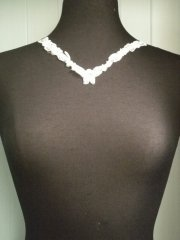 Sequin Beaded Neck Piece- Ivory White EM185 IV