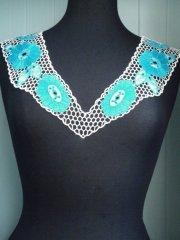 Crochet Neck Piece- White/Turquoise Blue EM187 WHTBL