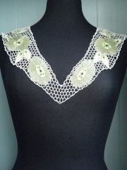 Crochet Neck Piece- White/Lime Green EM187 WHTGR