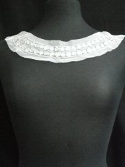 Jewels Round Neck Piece- White/Silver EM216 WHT