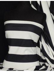 Ponte Double Knit 4 Way Stretch Jersey- Black/Cream Wide Stripe Q994 BKCRM