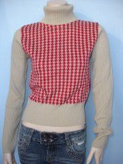 Polo Neck Red Dog Tooth Ladies Jumper (CV45)