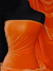Velvet /Velour 4 Way Stretch Spandex Lycra- Flo Orange Q559 FLOR