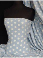 Polar Fleece Anti Pill Washable Soft Fabric- Baby Blue/White Polka Dots Q44 BBLWHT