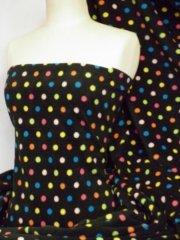 Polar Fleece Anti Pill Washable Soft Fabric- Black/Multi Polka Dots Q863 BKMLT