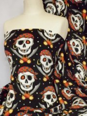Polar Fleece Anti Pill Washable Soft Fabric- Black Pirate Skulls Q1083 RDBK