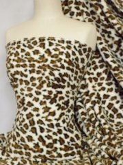 Polar Fleece Anti Pill Washable Soft Fabric- Tan Leopard Q40 TN