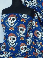 Polar Fleece Anti Pill Washable Soft Fabric- Royal Blue Pirate Skulls Q1083 RBL